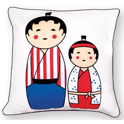 Japanese Dolls Reversible Throw Pillow