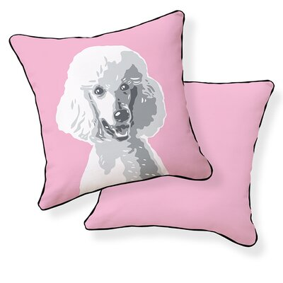 Poodle Cotton Throw Pillow