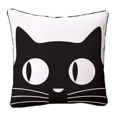 Big Eyes Cat Reversible Cotton Throw Pillow