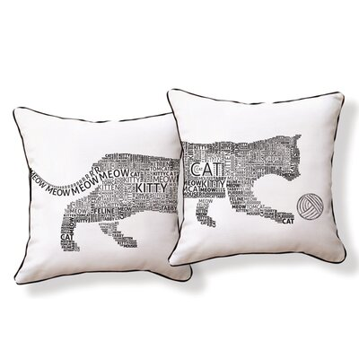 Typography Cat Cotton Throw Pillow