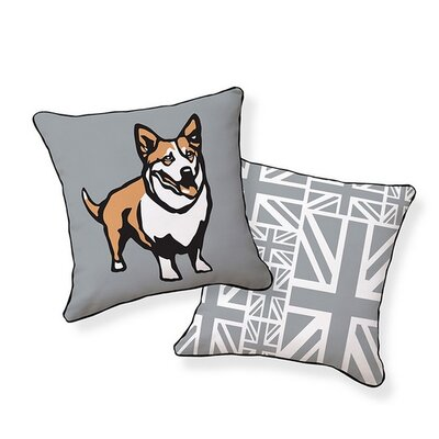 Corgi Cotton Reversible Throw Pillow