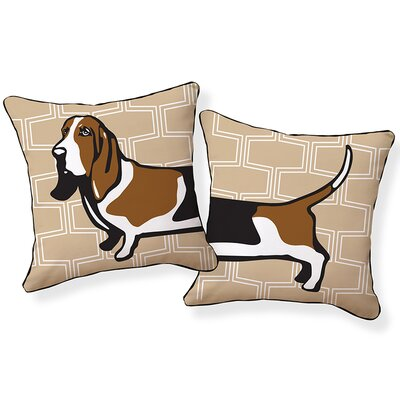 Basset Hound Cotton Throw Pillow Color: Tan