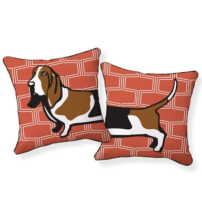 Basset Hound Cotton Throw Pillow Color: Brick