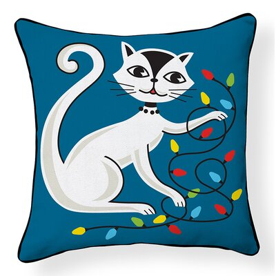 Cat with String Lights Indoor/Outdoor Throw Pillow