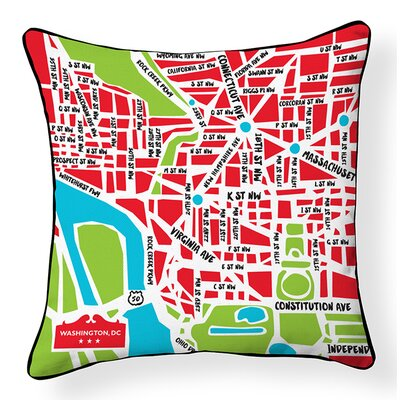 Nation Capital Map Cotton Throw Pillow