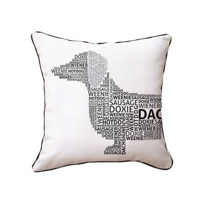 Dachshund Typography Cotton Throw Pillow Color: Black/White