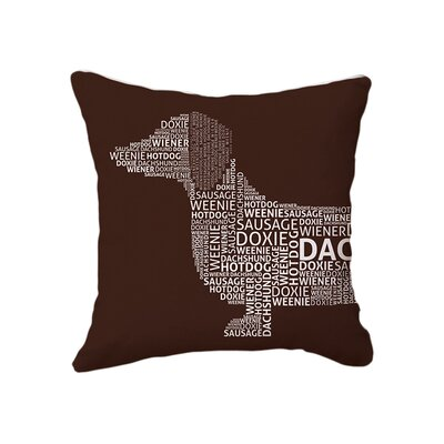 Dachshund Typography Cotton Throw Pillow Color: Brown/White