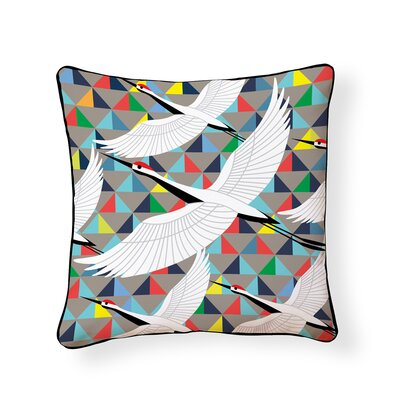Crane Outdoor Throw Pillow
