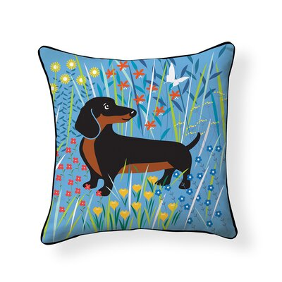 Pooch Doxie Floral Outdoor Throw Pillow