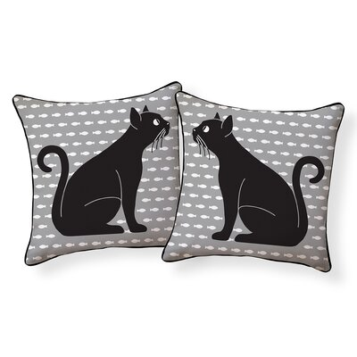 Front Porch Cat Outdoor Throw Pillow