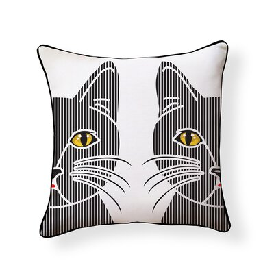 Linear Cat Outdoor Throw Pillow