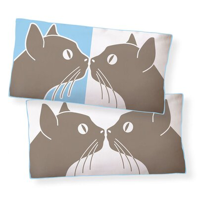 Kissing Cats Double Sided Cotton Pillow
