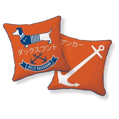 Dachshund Hello Sailor Cotton Throw Pillow