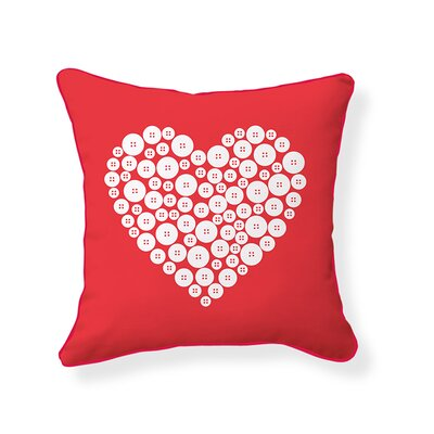 Love Button Cotton Throw Pillow