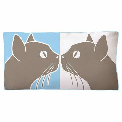 Kissing Cats Double Sided Cotton Boudoir/Breakfast Pillow