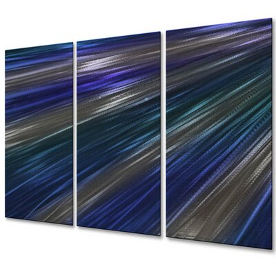 'Blue Rays Of Light IV' by Ash Carl 3 Piece Graphic Art Plaque Set ABS00354