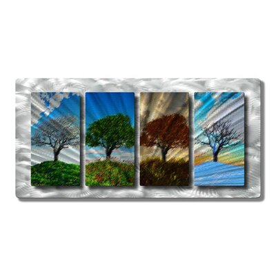 'Four Seasons' by Ash Carl Designs 4 Piece Graphic Art Plaque Set NOR00005