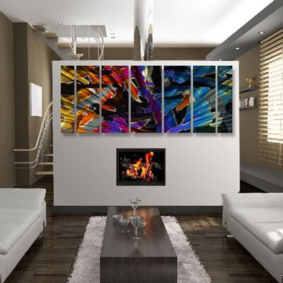 Abstract by Ash Carl 3 Dimensional Holographic Wall Art in Black Multi - 23.5