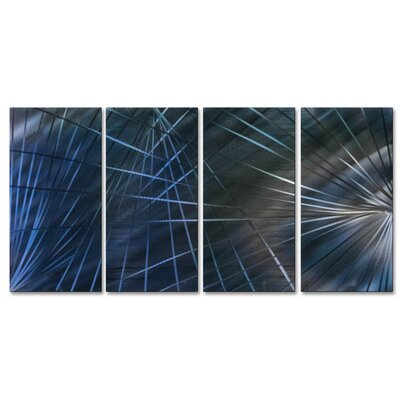 Network III by Ash Carl 4 Piece Graphic Art Plaque Set Color: Blue ABS00340