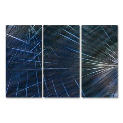 Network IV by Ash Carl 3 Piece Graphic Art Plaque Set Color: Blue ABS00358