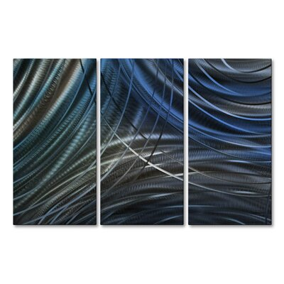 Connecting Rings IV by Ash Carl 3 Piece Graphic Art Plaque Set Color: Blue ABS00349