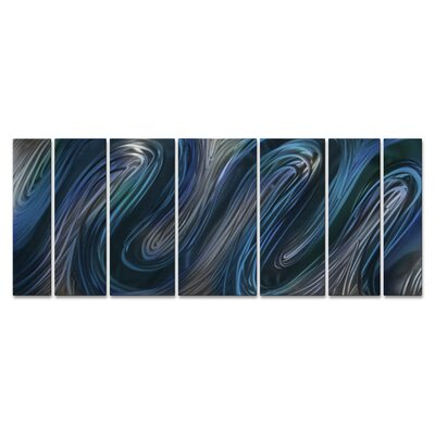 'Blue Glissade' by Ash Carl 7 Piece Graphic Art Plaque Set ABS00286