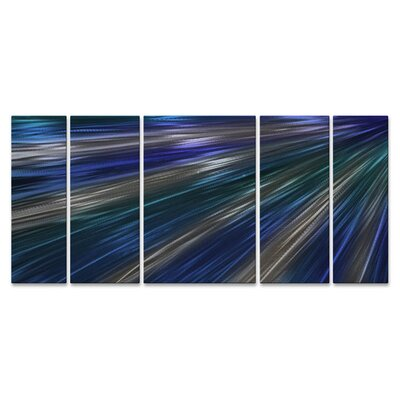 'Blue Rays Of Light II' by Ash Carl 5 Piece Graphic Art Plaque Set ABS00315