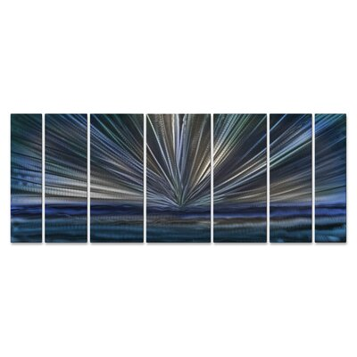 On The Horizon by Ash Carl 7 Piece Graphic Art Plaque Set Color: Blue ABS00289