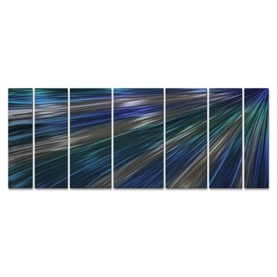 'Blue Rays Of Light' by Ash Carl 7 Piece Graphic Art Plaque Set ABS00296