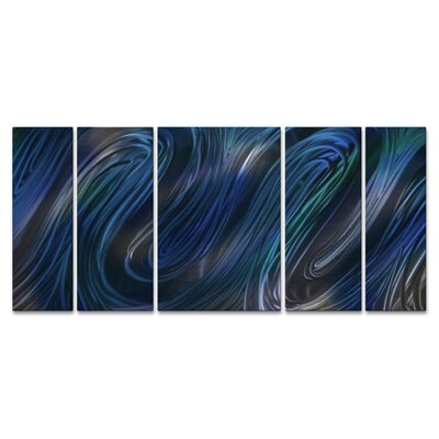 'Blue Glissade II' by Ash Carl 5 Piece Graphic Art Plaque Set ABS00308