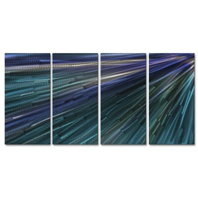 'In To The Blue Light III' by Ash Carl 4 Piece Graphic Art Plaque Set ABS00333