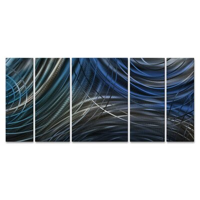 Connecting Rings II by Ash Carl 5 Piece Graphic Art Plaque Set Color: Blue ABS00311