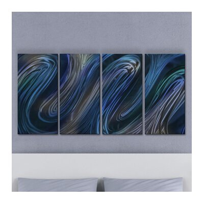 Glissade III by Ash Carl 4 Piece Graphic Art Plaque Set Color: Blue ABS00324