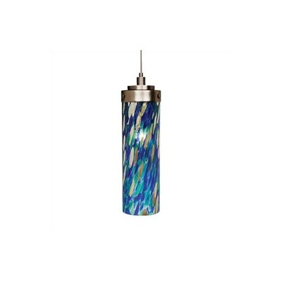 Max 1-Light Mini Pendant Finish: Satin Nickel, Shade Color: Blue Green, Mounting Type: LED - Fusion Jack Mini Pendant