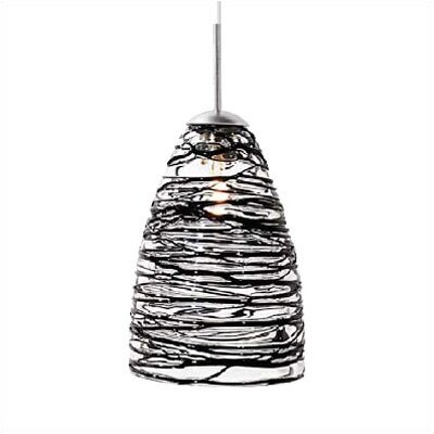 Flow 1-Light Mini Pendant Color: Black, Finish: Satin Nickel, Mounting Type: Monopoint (canopy included)