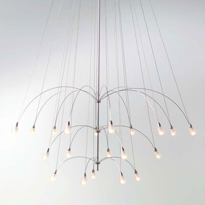Teardrop Twilight 20-Light Waterfall Chandelier Cover: None, Length: 60 Overall