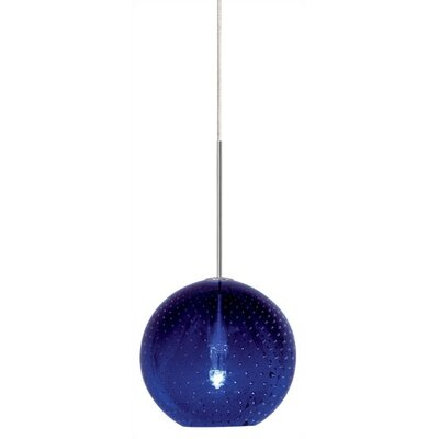 Bulle 1-Light Globe Pendant Color: Blue, Finish: Satin Nickel, Mounting: Pendant with Canopy/Transformer