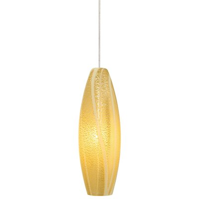 Rachel 1-Light Pendant Shade Color: Opal/Amber, Finish / Mounting: Satin Nickel / Pendant Only