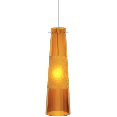 Bonn 1-Light Pendant Shade Color: Amber, Finish / Mounting / Bulb: Satin Nickel / Fusion Jack / LED