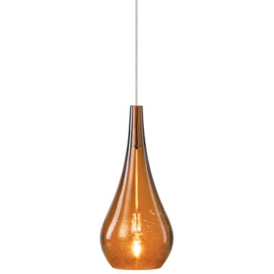 Chamlee 1-Light Pendant Shade Color: Amber, Finish / Mounting: Satin Nickel / Monopoint