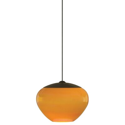 Fennell 1-Light Pendant Shade Color: Amber, Shade Finish / Finish / Mounting: Satin Nickel / Monopoint