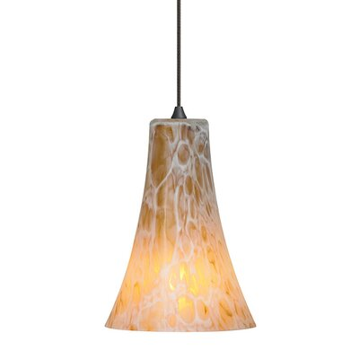 Chalmers 1-Light Mini Pendant Finish: Bronze, Shade Color: Opal