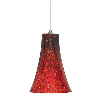 Chalmers 1-Light Mini Pendant Finish: Satin Nickel, Shade Color: Red