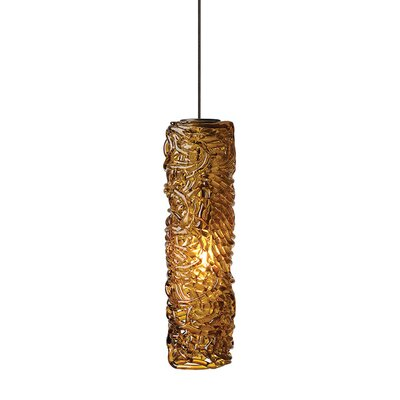 Southridge 1-Light Mini Pendant Finish: Bronze, Shade Color: Amber