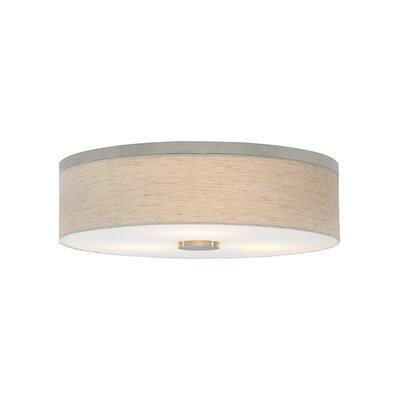 Fiona 3-Light Flush Mount Shade Color: Linen, Bulb Type: Compact Fluorescent 277 V, Finish: Satin Nickel