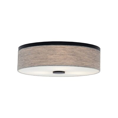 Mccubbin 3-Light Flush Mount Finish: Bronze, Shade Color: Linen, Bulb Type: Compact Fluorescent 277 V