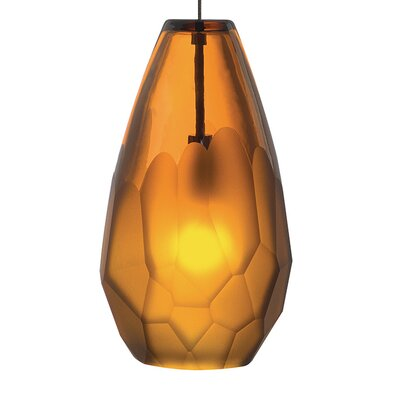 Briolette 1-Light Mini Pendant Finish: Satin Nickel, Shade Color: Amber