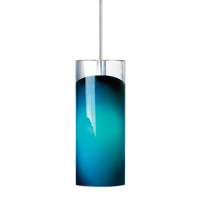 Horizon 1-Light Mini Pendant Shade Color: Steel�Blue, Finish: Satin Nickel
