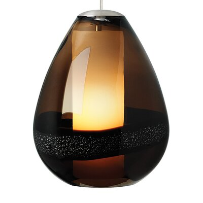 Miyu Classic 1-Light Mini Pendant Shade Color: Dark Brown, Bulb Type: Incandescent, Finish: Satin Nickel