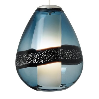 Herron Classic 1-Light Mini Pendant Color: Satin Nickel, Shade Color: Steel Blue, Bulb Type: Compact Fluorescent